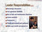leader responsibilities con t