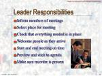 leader responsibilities