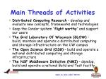 main threads of activities