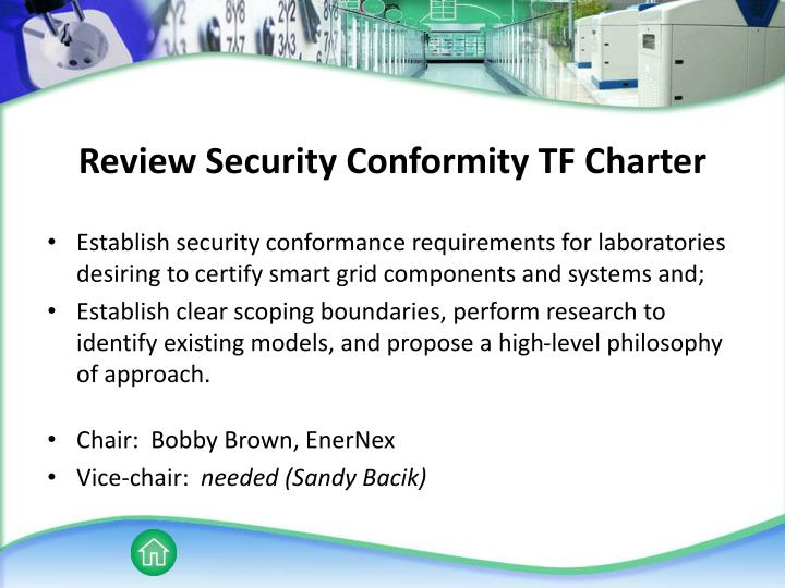 Review Security Conformity TF Charter