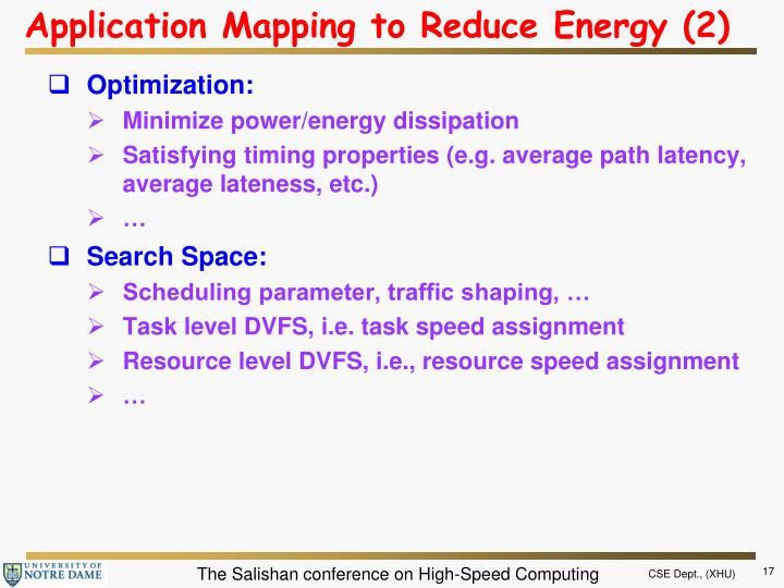 Application Mapping to Reduce Energy (2)