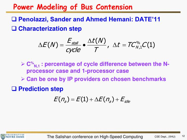 Power Modeling of Bus Contension