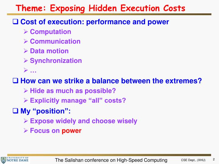 Theme exposing hidden execution costs