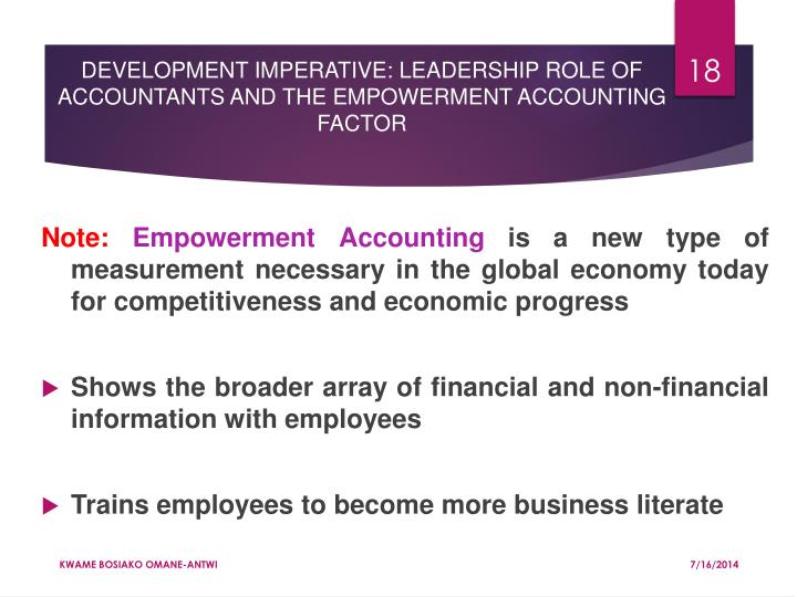 DEVELOPMENT IMPERATIVE: LEADERSHIP ROLE OF ACCOUNTANTS AND THE EMPOWERMENT ACCOUNTING FACTOR