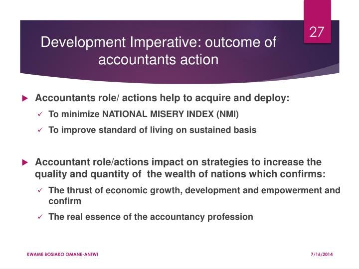 Development Imperative: outcome of accountants action