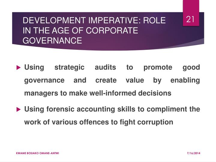 DEVELOPMENT IMPERATIVE: ROLE IN THE AGE OF CORPORATE GOVERNANCE