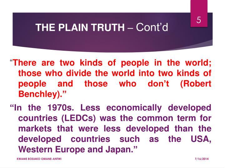 THE PLAIN TRUTH