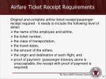 airfare ticket receipt requirements