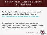 foreign travel applicable lodging and meal rates