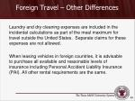 foreign travel other differences