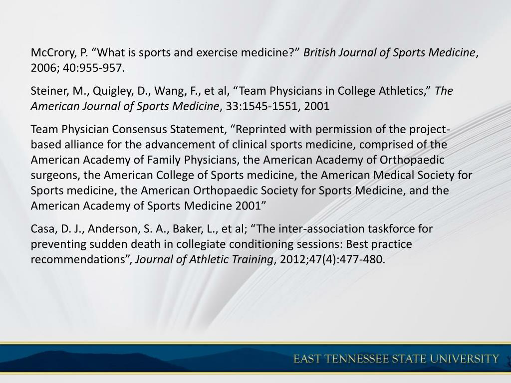 PPT - The Role of the Primary Care Physician in the Sports Medicine
