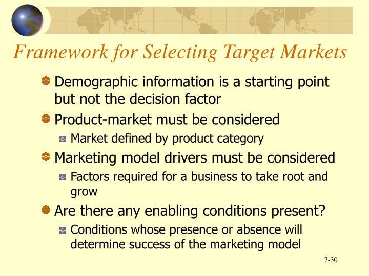 Framework for Selecting Target Markets