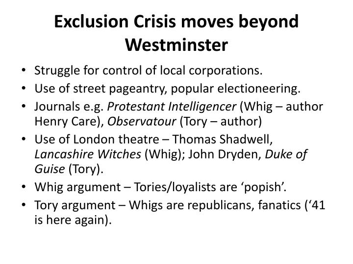 Exclusion Crisis moves beyond Westminster