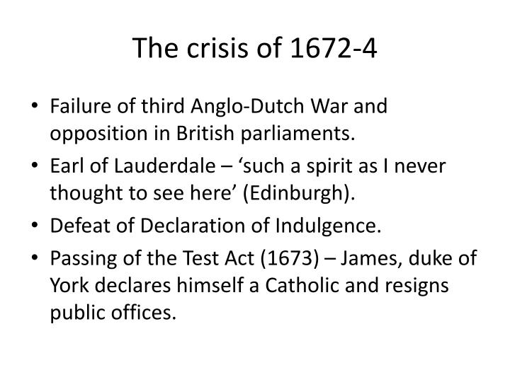 The crisis of 1672-4