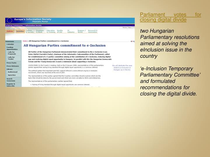 Parliament votes for closing digital divide