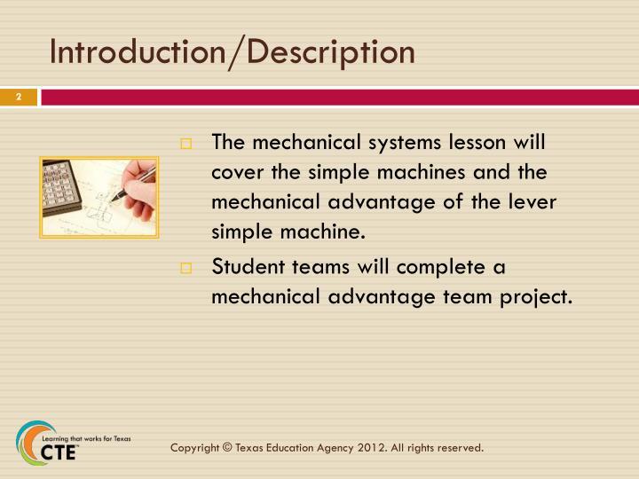 Introduction description