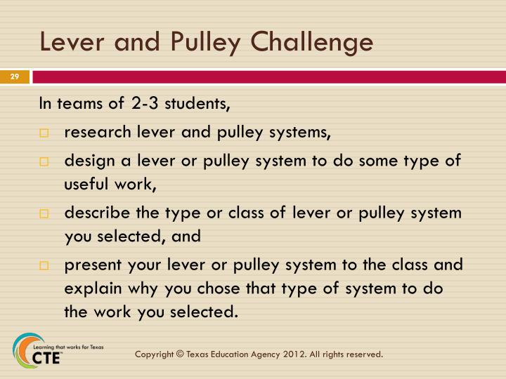 Lever and Pulley Challenge