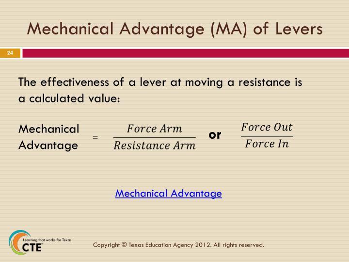 Mechanical Advantage (MA) of Levers