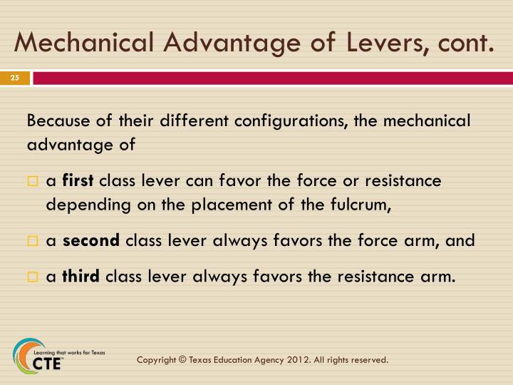 Mechanical Advantage of Levers, cont.