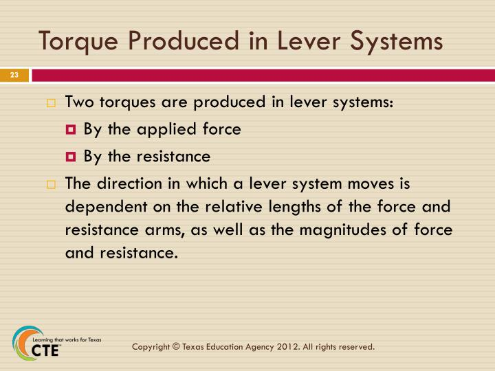 Torque Produced in Lever Systems