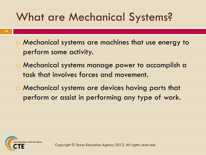 What are Mechanical Systems?