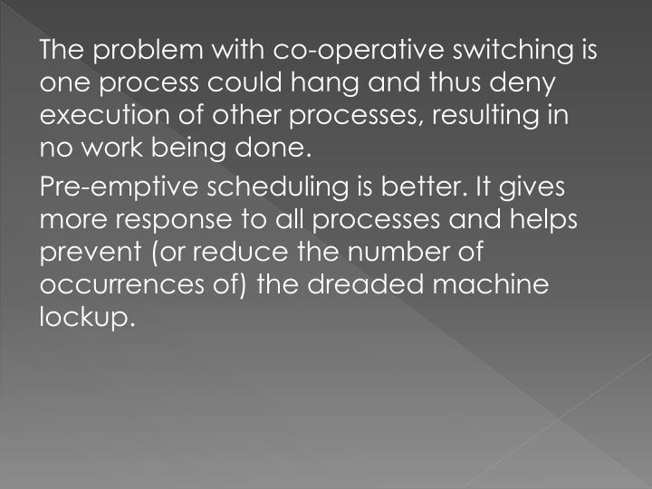 The problem with co-operative switching is one process could hang and thus deny execution of other processes, resulting in no work being