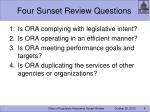 four sunset review questions
