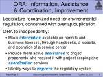 ora information assistance coordination improvement