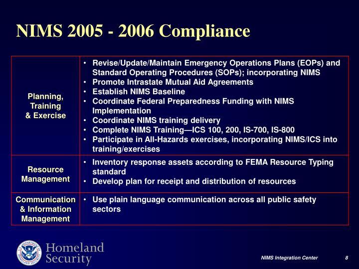 NIMS 2005 - 2006 Compliance
