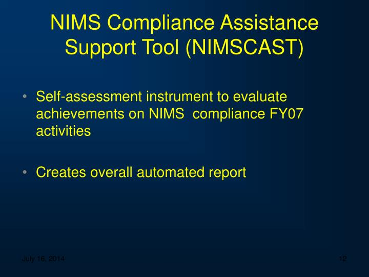 NIMS Compliance Assistance Support Tool (NIMSCAST)