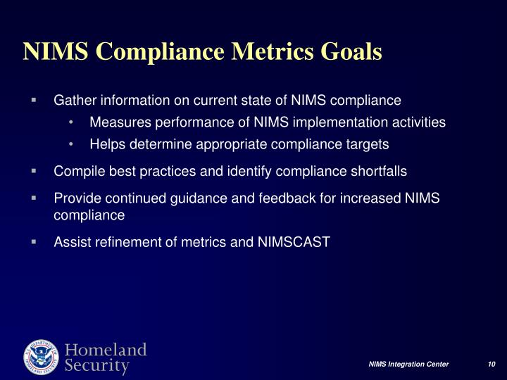 Gather information on current state of NIMS compliance