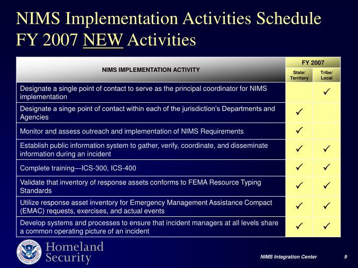 NIMS Implementation Activities Schedule