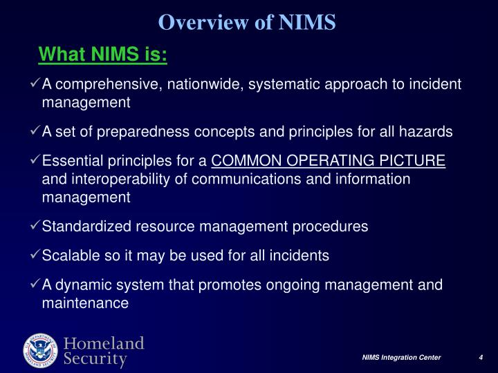 A comprehensive, nationwide, systematic approach to incident management