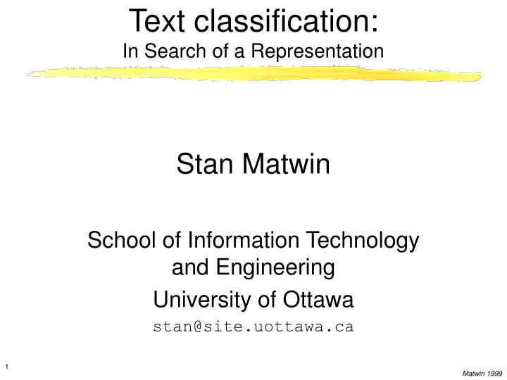 text classification in search of a representation n.