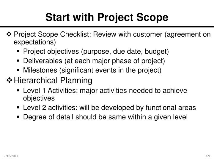Start With Project Scope