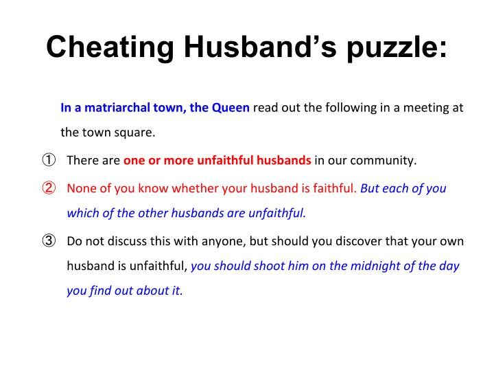 Cheating Husband's puzzle: