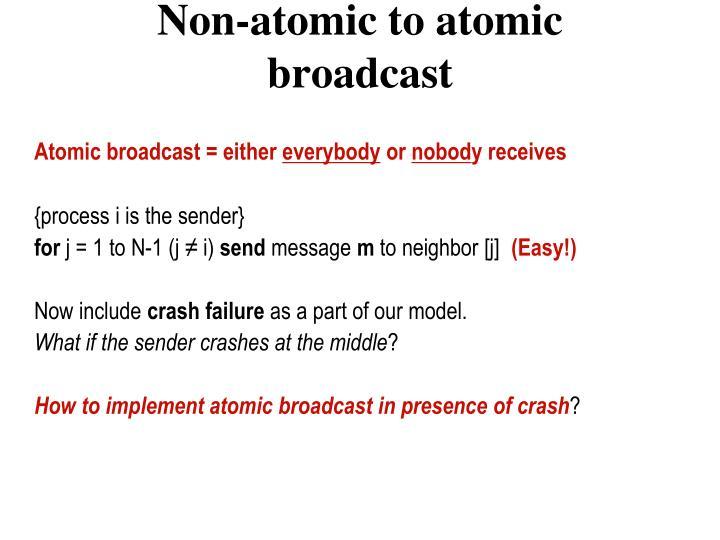 Non-atomic to atomic broadcast