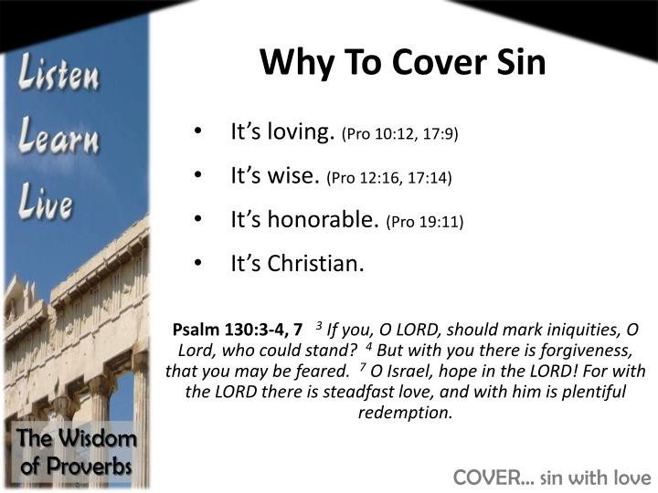 Why To Cover Sin