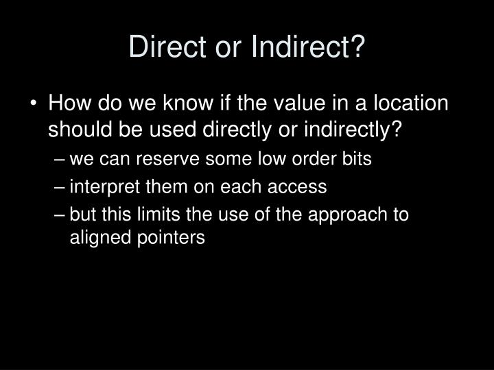 Direct or Indirect?