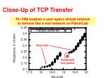 close up of tcp transfer