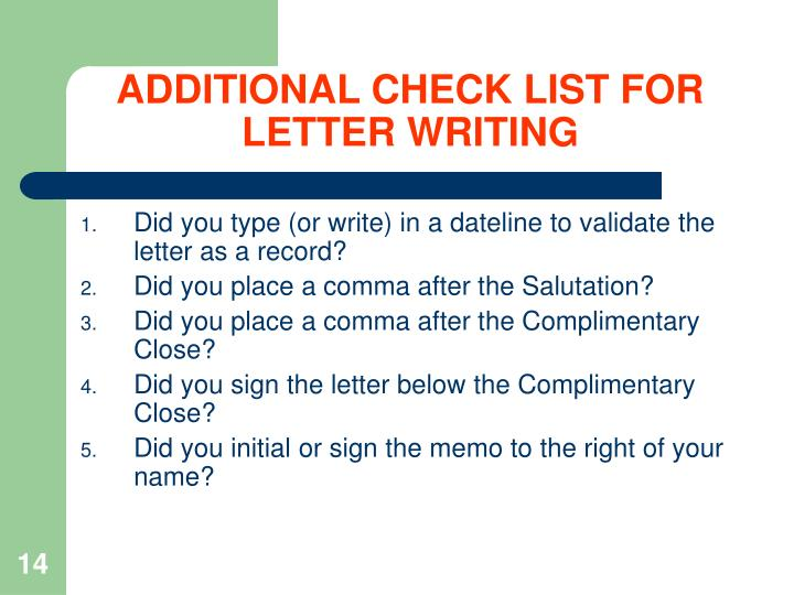 ADDITIONAL CHECK LIST FOR LETTER WRITING