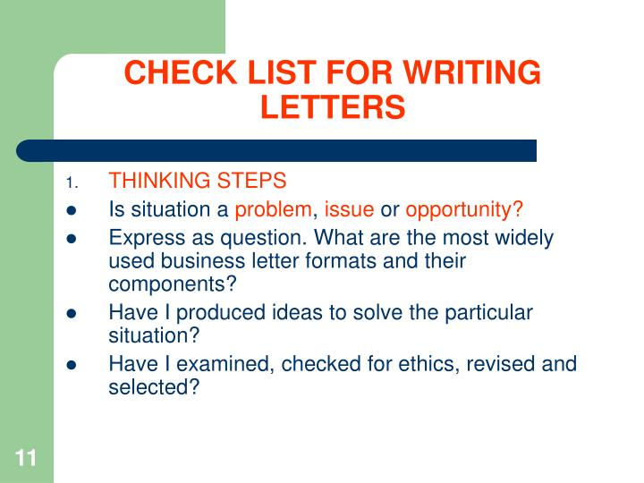 CHECK LIST FOR WRITING LETTERS