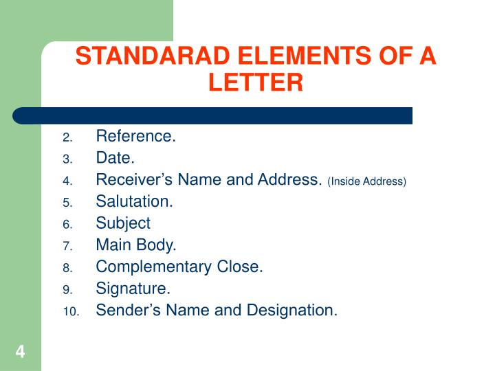 STANDARAD ELEMENTS OF A LETTER