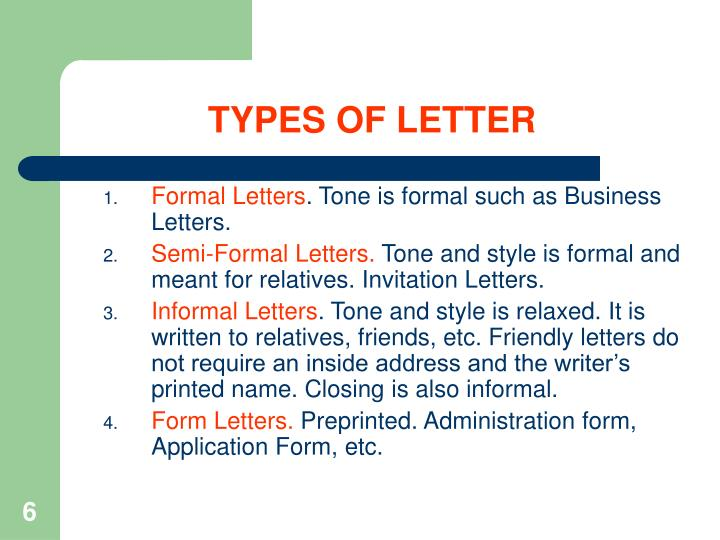 TYPES OF LETTER