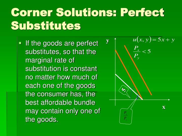 Corner Solutions: Perfect Substitutes