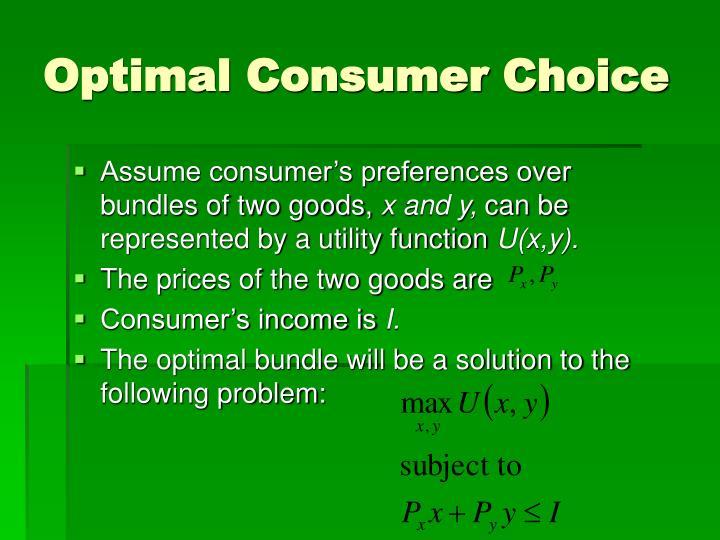Optimal consumer choice