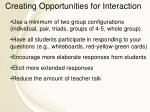 creating opportunities for interaction