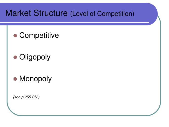 Market structure level of competition1