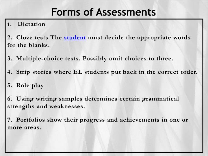 Forms of Assessments