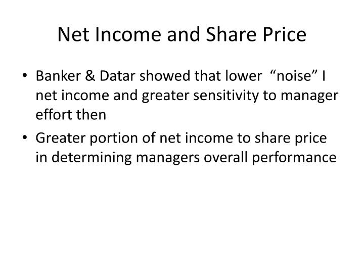 Net Income and Share Price